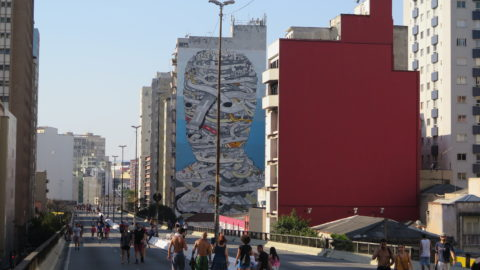 Grafites ao longo do Minhocão. Foto: Denize Bacoccina
