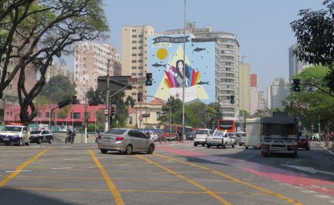 Painel A Cidade é Nossa, tema do bloco de carnaval do Baixo Augusta, tema do carnaval de 2017. Foto: Denize Bacoccina