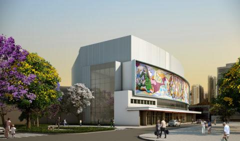 Projeção da nova fachada do Teatro Cultura Artística, com a lateral envidraçada voltada para a Praça Roosevelt. Imagem: Bruno Lucchese