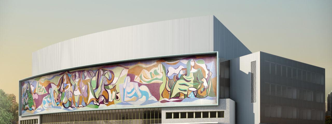 Fachada frontal do novo Teatro Cultura Artística, com o painel de Di Cavalcanti restaurado. Imagem: Bruno Lucchese
