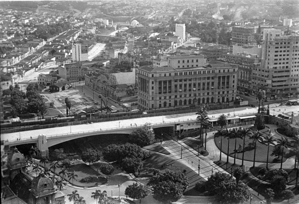 Vale do Anhangabaú, com vista para a zona sul, em 1938. Foto: Benedito Junqueira Duarte