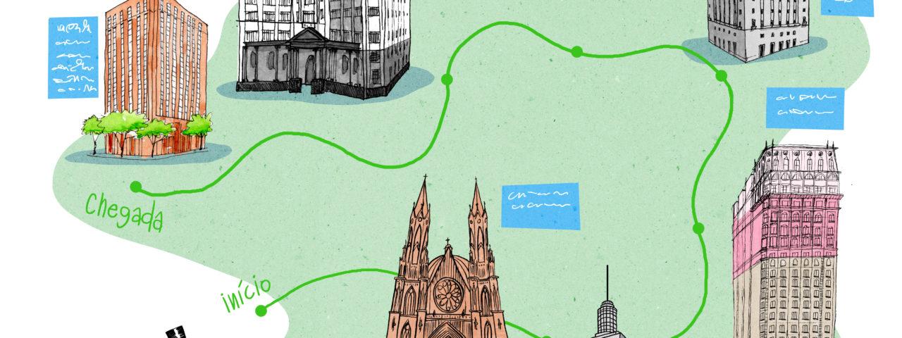 Mapa de prédios históricos no centro de São Paulo para crianças