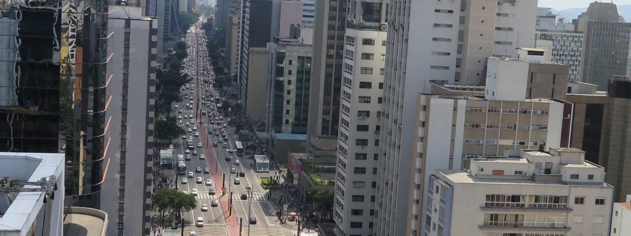 Vista do mirante do Sesc Avenida Paulista, no 17º andar