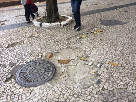 Buraco na calçada na região central de São Paulo