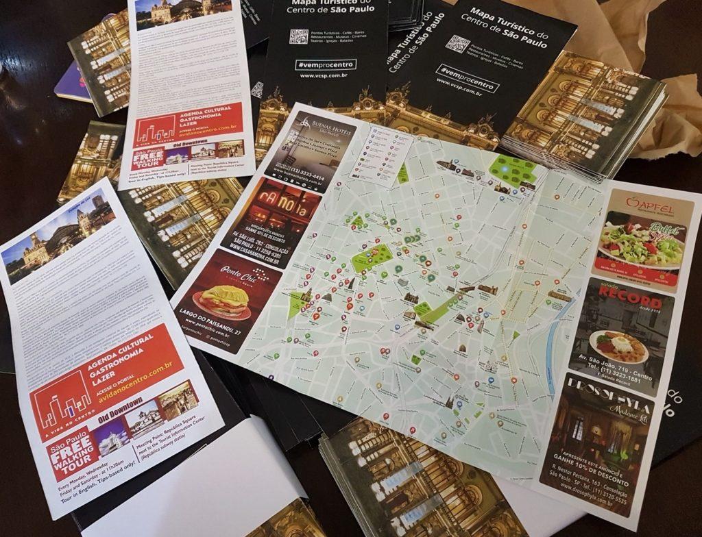 Mapa Turístico do Centro de São Paulo produzido pelo Movimento Centricidade