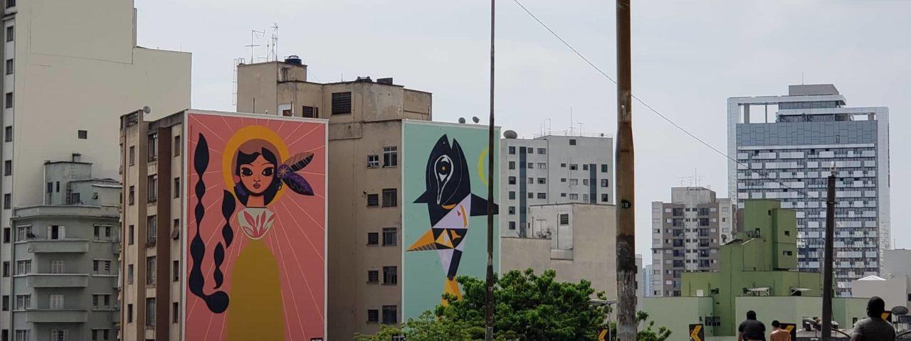 Obra de Speto no Minhocão no sentido Centro-bairro